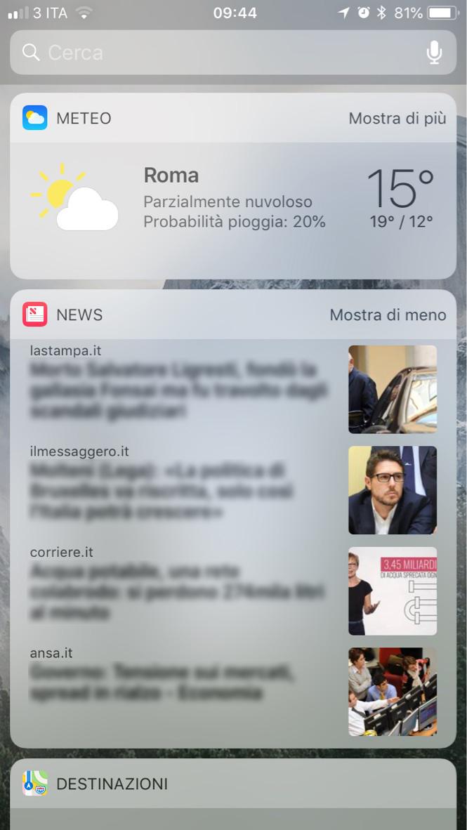 Widget Apple News Ripristinato